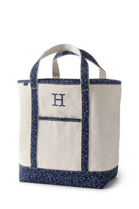 Large Print Handle Open Top Canvas Tote Bag