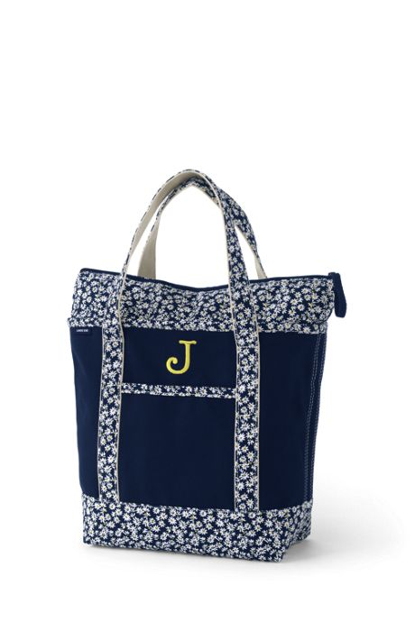 Medium Print Handle Zip Top Canvas Tote Bag