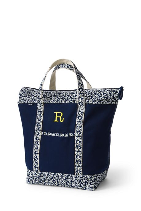 Large Print Handle Zip Top Canvas Tote Bag