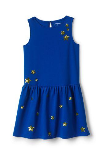 Gemustertes Ponté-Kleid mit angesetztem Rock für große Mädchen