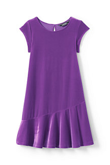 Girls' Cap Sleeve Velveteen Dress