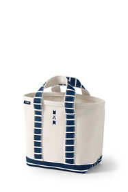 Print Handle Small Open Top Canvas Tote Bag