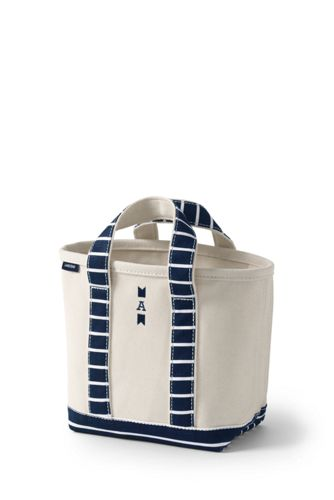 Small Print Handle Canvas Tote Bag
