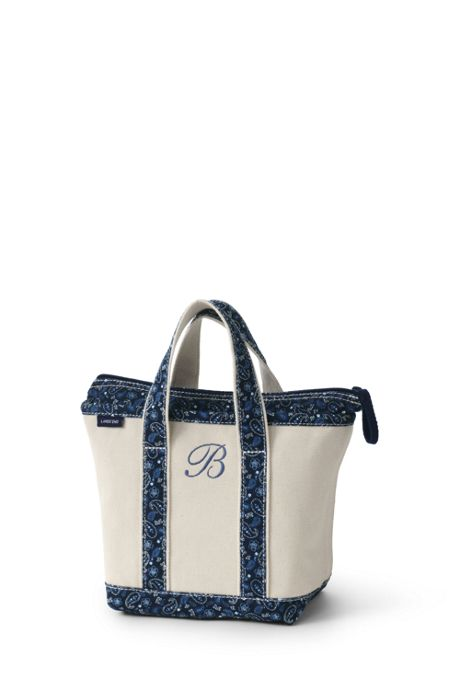 Print Handle Small Zip Top Canvas Tote Bag