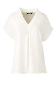 Women's Petite Crepe Short Sleeve V-Neck Blouse