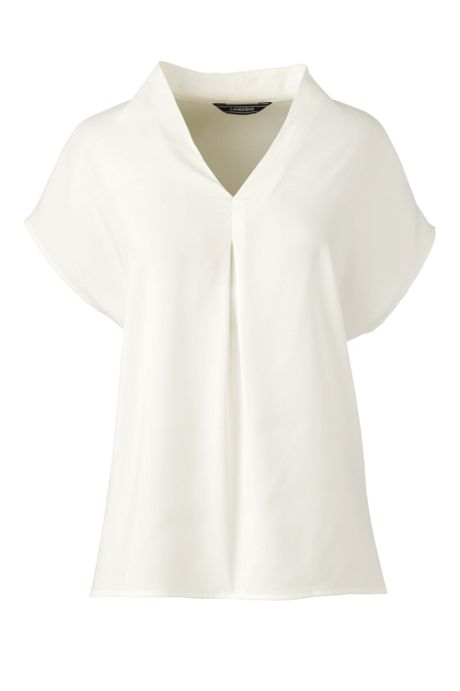 Women's Petite Crepe Short Sleeve V-Neck Blouse