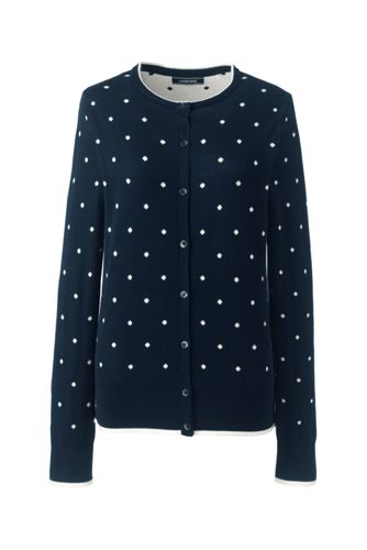 Women's Supima Jacquard Crew Neck Cardigan