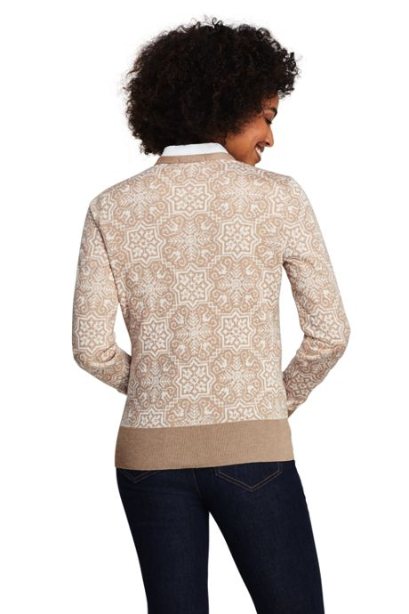 Women's Petite Supima Cotton Jacquard Cardigan Sweater