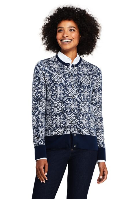 Women's Supima Cotton Jacquard Cardigan Sweater