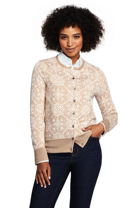 Women's Tall Supima Cotton Jacquard Cardigan Sweater