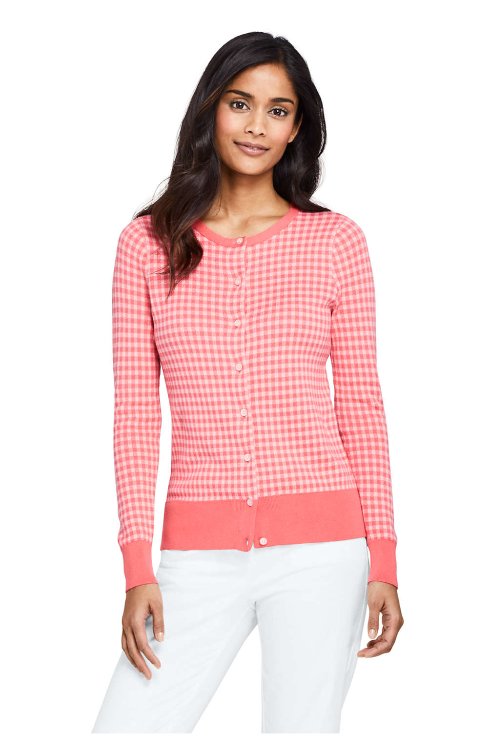 ed1f137fc46 Women's Supima Cotton Jacquard Cardigan Sweater from Lands' End
