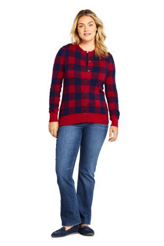 Women's Plus Size Supima Cotton Jacquard Cardigan Sweater
