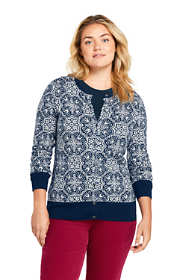 Women's Plus Size Supima Cotton Jacquard Cardigan Sweater