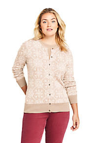 706b3503ed Women s Plus Size Supima Cotton Jacquard Cardigan Sweater