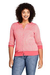 1825472593 Women s Plus Size Supima Cotton Jacquard Cardigan Sweater