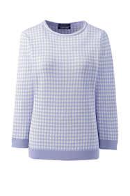 Women's Tall Supima Cotton 3/4 Sleeve Jacquard Sweater