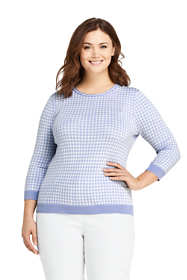 Women's Plus Size Supima Cotton 3/4 Sleeve Jacquard Sweater