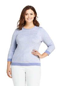 Women's Plus Size Supima Cotton 3/4 Sleeve Jacquard Sweater
