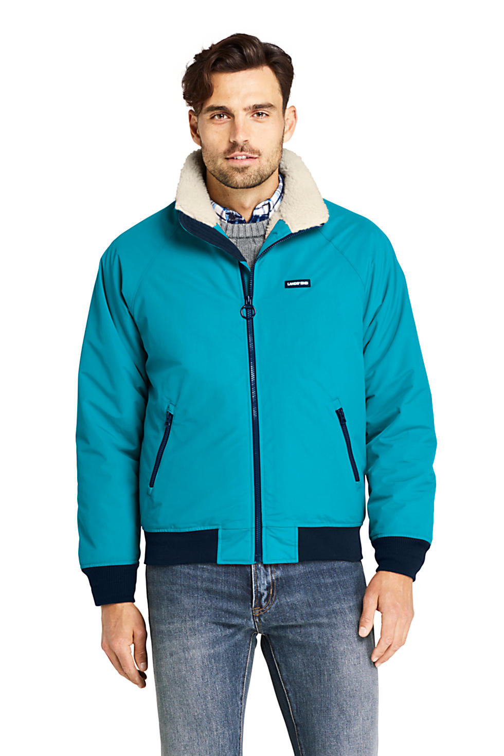 Lands End Mens Tall Sherpa Lined Classic Squall Jacket (Algiers Blue)