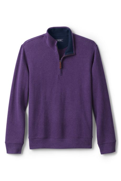 Men's Heathered Tailored Fit Bedford Rib Pieced Collar Specialty Quarter-Zip Mock Pullover