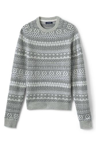 Men's Lambswool All Over Fairisle Crewneck Sweater from Lands' End
