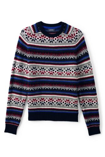Men's Lambswool Snowflake Fairisle Crewneck Sweater from Lands' End