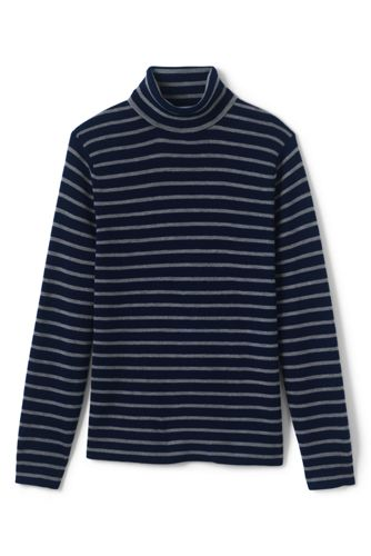 Men's Stripe Rib Merino Turtleneck Sweater from Lands' End