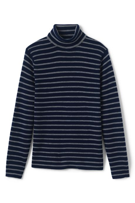 Men's Stripe Rib Merino Turtleneck Sweater