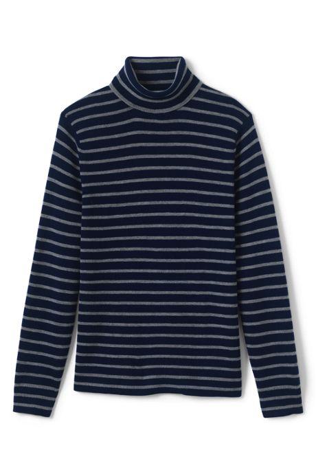 Men's Stripe Rib Merino Turtleneck Sweater
