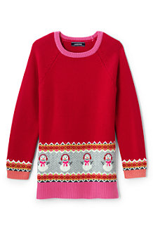 Girls' Tunic-length Snowman Jumper