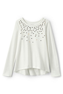 Girls' Embellished Curved Hem Tee