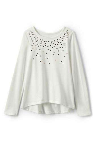Toddler Girls' Embellished Curved Hem Tee