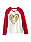 Little Girls' Glitter Heart Raglan T-shirt
