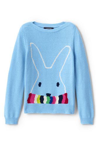 Little Girls' Boatneck Cotton Blend Bunny Jumper