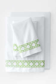 400 No Iron Embroidered Cane Weave Sheet Set