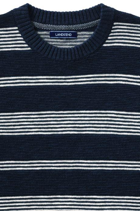 Men's Stripe Linen Cotton Textured Crewneck Sweater