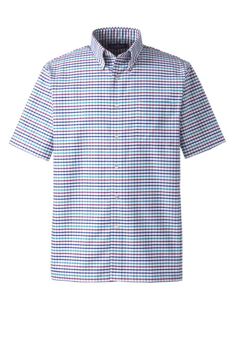 Men's Short Sleeve Buttondown Pattern Oxford Sport Shirt