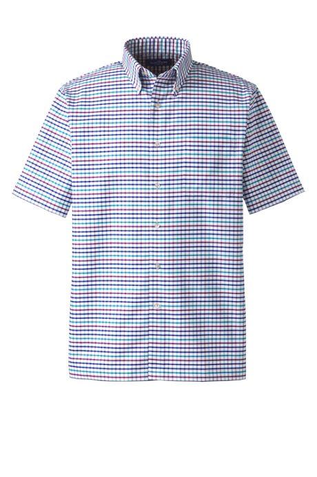 Men's Short Sleeve Buttondown Pattern Oxford Sport Shirt