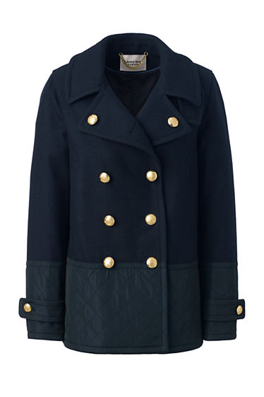 Women's Quilted Detail Pea Coat from Lands' End : quilted pea coat - Adamdwight.com