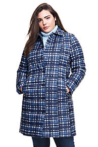 Womens Plus Patterned PrimaLoft Coat - 20 - BLUE Lands End