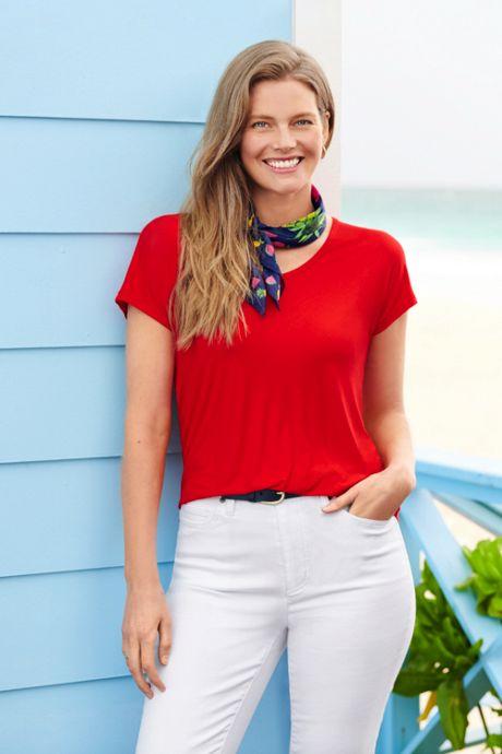Women's Petite Jersey U-neck T-shirt
