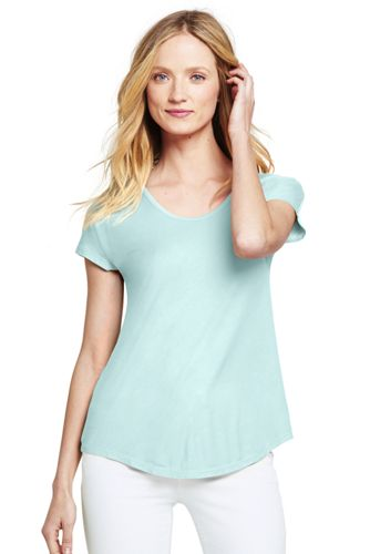 Women's Jersey U Neck T Shirt by Lands' End