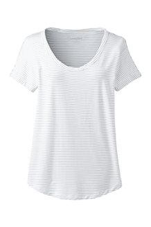 Gestreiftes Shirt aus Bambusviskose, V-Ausschnitt