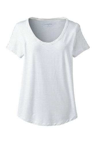 Le T-Shirt Rayé en Viscose Stretch, Femme Stature Standard