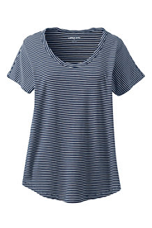 Women's Short Sleeve Jersey Stripe Scoopneck T-shirt
