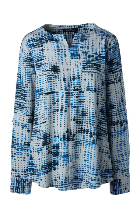 Women's Plus Size Roll Sleeve Abstract Dot Soft Blouse