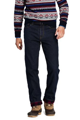 Men's Straight Fit Flannel-lined Jeans