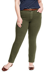Lands' End Women's Plus Size Mid Rise Slim Leg Jeans