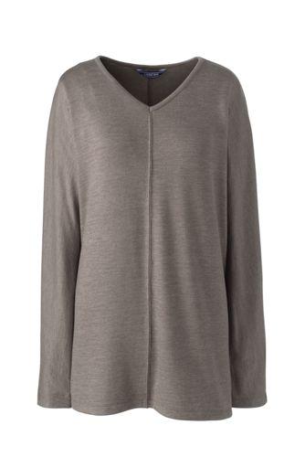 Langes Viskose-Shirt mit V-Ausschnitt für Damen