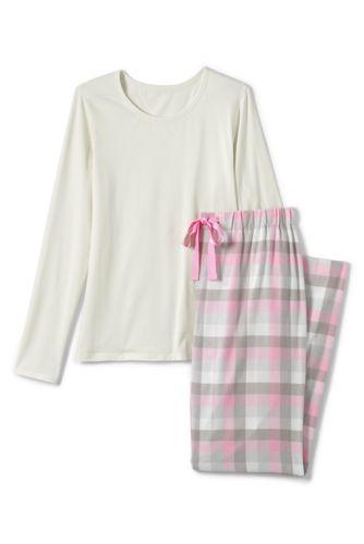 Flanell Pyjama-Set mit gemusterter Hose für Damen in Normalgröße